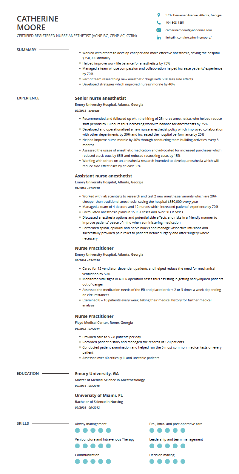 Nurse Practitioner Resume: Examples, Template, and Resume ...