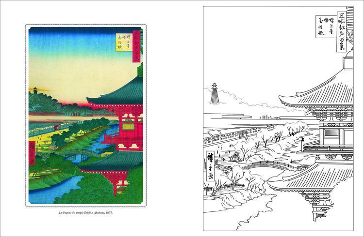 Cahier de Coloriages Paysages du Japon (Japanese Landscapes, French Coloring Book)