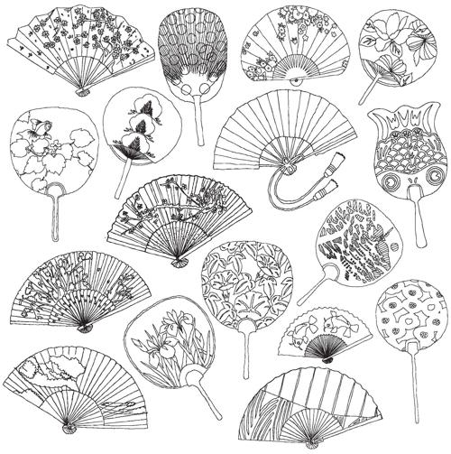 fan coloring pages - japanese fan coloring page car interior design