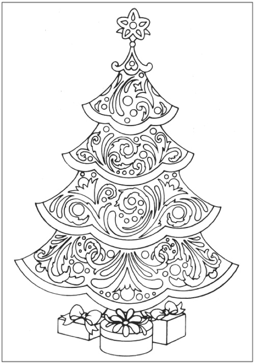 creative haven christmas trees coloring book page1