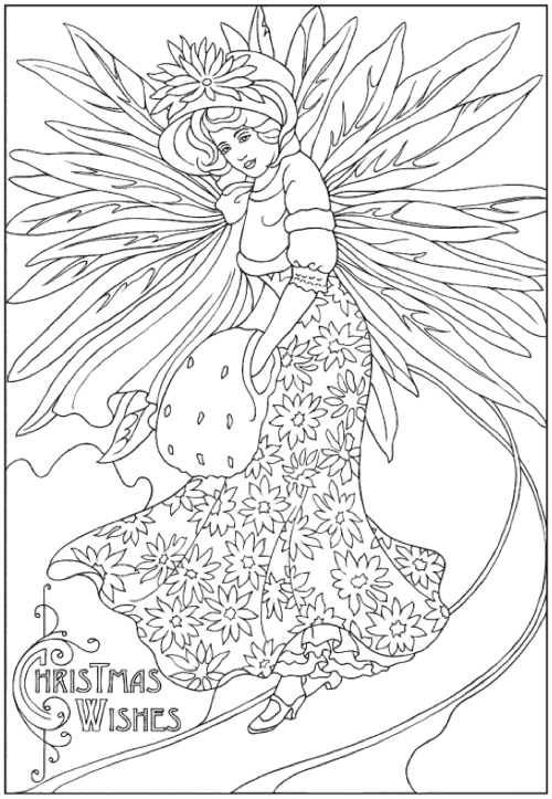 22 christmas coloring books to set the holiday mood for Christmas fairy coloring pages