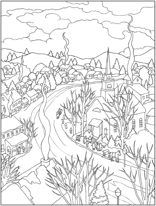 Creative Haven Winter Scenes Coloring Book | Coloring pages winter ... | 660x500