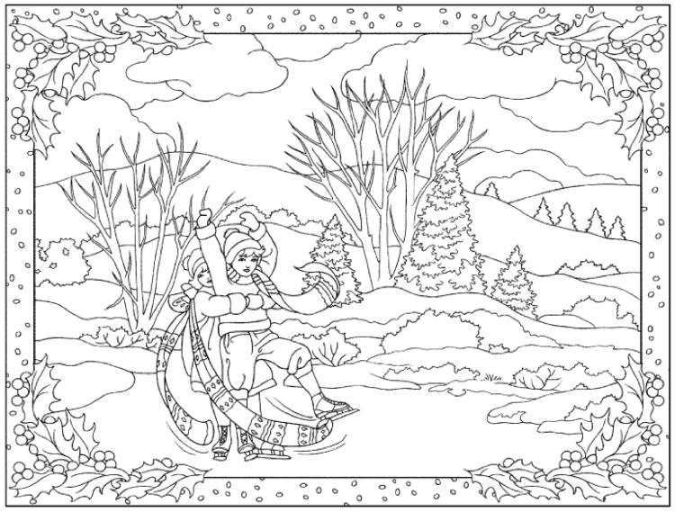 coloring pages winter scene - photo#19