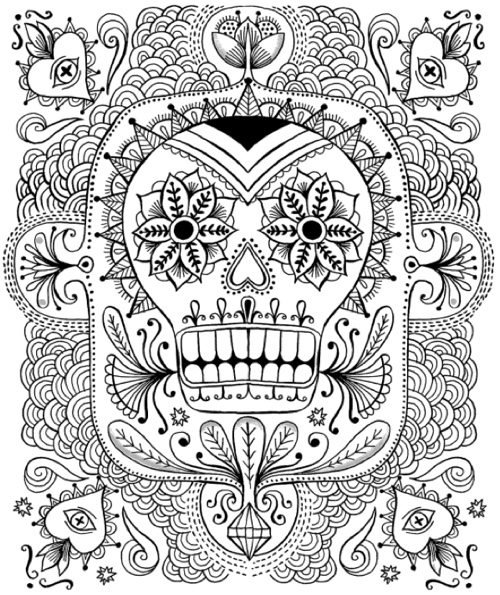 just add color day of the dead 30 original illustrations to color customize - Day Of The Dead Coloring Book