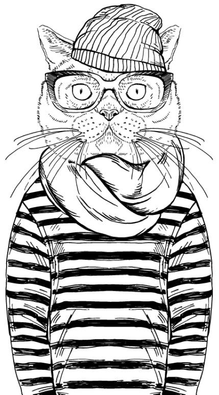 Hipster Animals Coloring Book Hayvanlar Boyama Sayfalari Pages