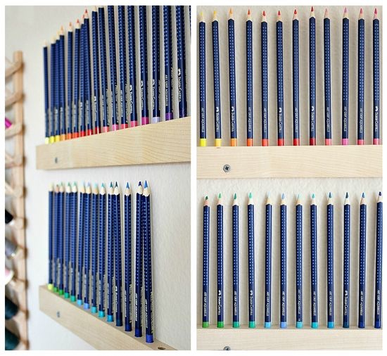 DIY Colored Pencil Wall Hangers: Beautiful way to showcase your colored pencil collection on your wall! Need a lot of wallspace but this is totally worth it!