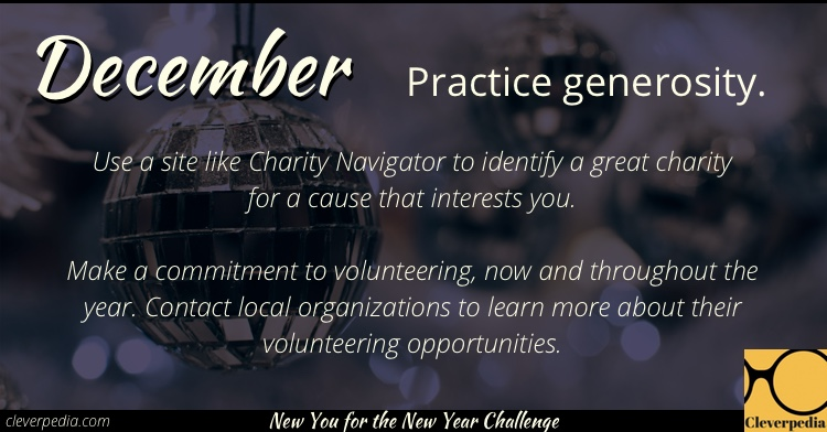 December's goal: Practice generosity! (New You for the New Year Challenge from Cleverpedia)