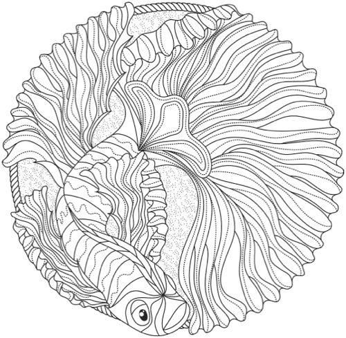 Ocean Mandala Coloring Book Coloring Pages