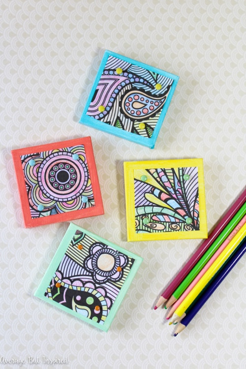 Crafty Ways to Use Your Coloring Pages: DIY Mini Canvas Magnets by Average But Inspired