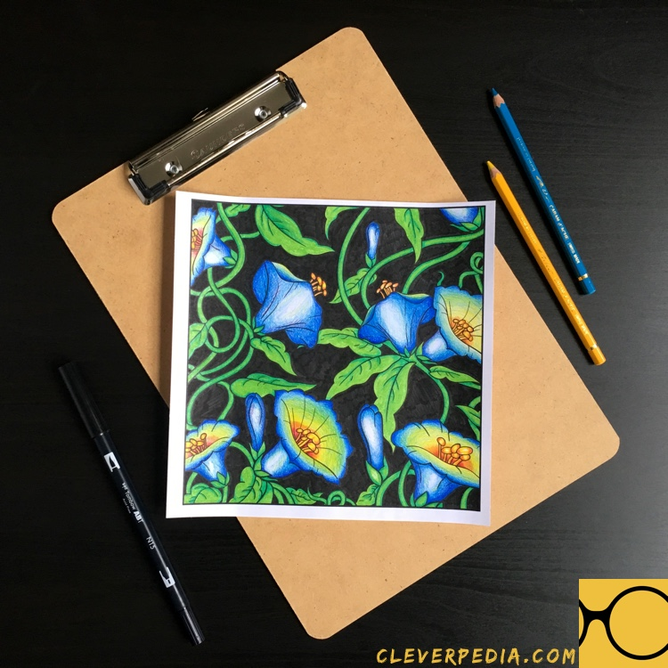 Page from Color With Music: Botanical Garden colored by Adrienne from Cleverpedia!