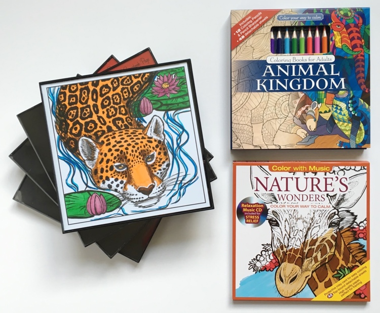 Adult Coloring Books & Picture Frames Set: Animals