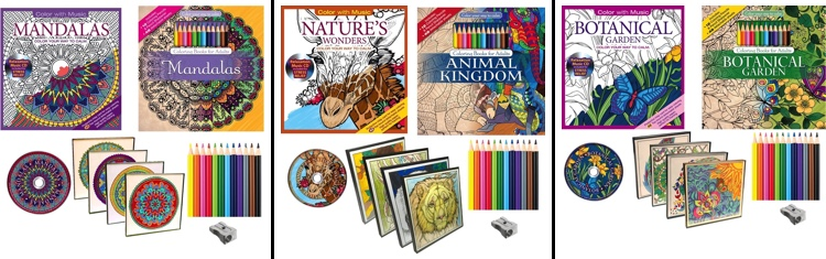 Full lineup of Color With Music coloring kits each containing two 48-page coloring books, a music CD, a dozen pencils, and a pencil sharpener!