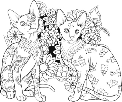 World Of Cats Adult Coloring Book