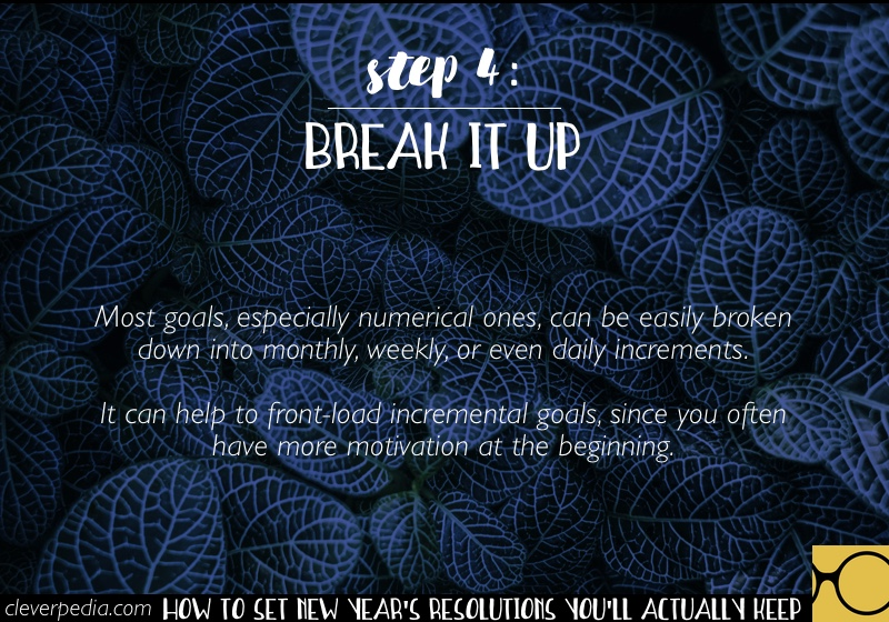 How to Set New Year's Resolutions You'll Actually Keep - Step 4: Break It Up