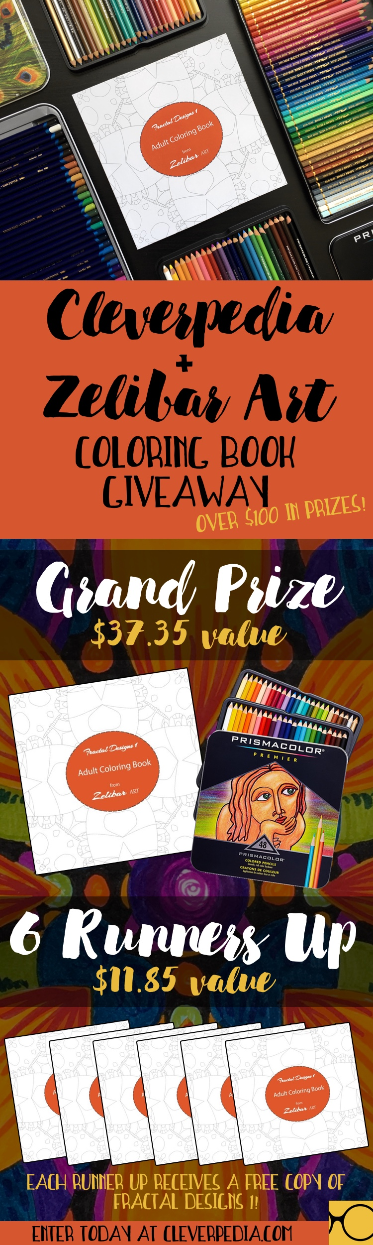 The Cleverpedia + Zelibar Art Coloring Book Giveaway is running through April 3, 2017. Seven lucky winners will win a combined total of over $100 in prizes! Enter today at cleverpedia.com!