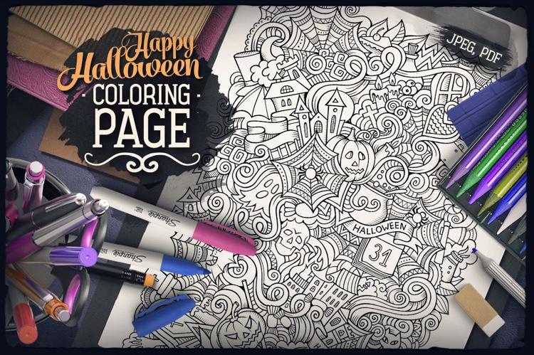 Happy Halloween Digital Coloring Page