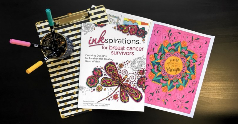 Inkspirations for Breast Cancer Survivors is an adult coloring book designed to encourage and empower women healing from breast cancer. It is being released just in time for Breast Cancer Awareness Month! Enter today to win one of three prizes totaling almost $100 in value!