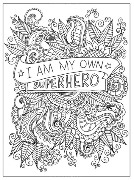 A sample page from Inkspirations for Breast Cancer Survivors, a breast cancer awareness coloring book for adults coming out just in time for Breast Cancer Awareness Month!