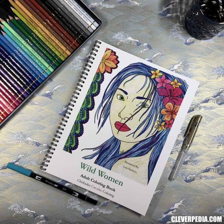 Wild Women, an adult coloring book by Chickadee Creative Coloring! This coloring book features 24 pages of original artwork by Leia Pastizzo. All the images feature beautiful women, often surrounded by flora and fauna.