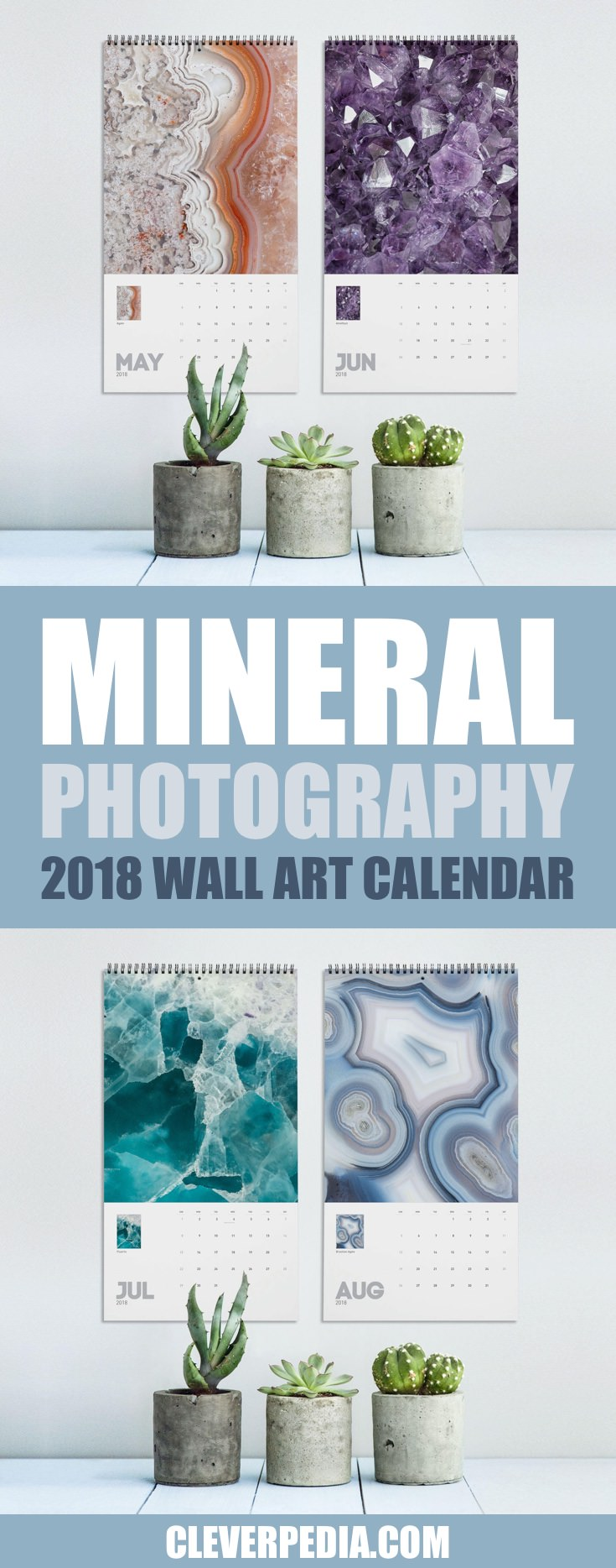 Crystals, geodes, and minerals are huge this year! This pretty 2018 wall calendar includes a dozen macro photographs of minerals, along with a grid of calendar dates. The calendar is wire-bound with a hole punched at the top. The Macro Mineral Photography Wall Art Calendar is perfect for a friend who loves crystals.