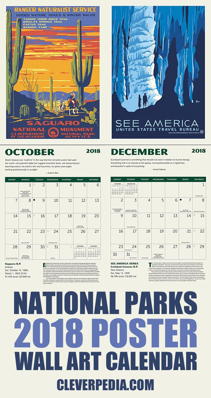 This appointment calendar features vintage National Park posters created in the 30s and 40s.