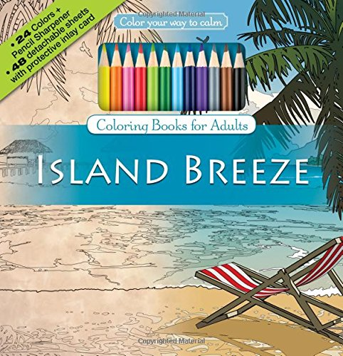 Island Breeze Adult Coloring Book Set With 24 Colored Pencils And Pencil Sharpener
