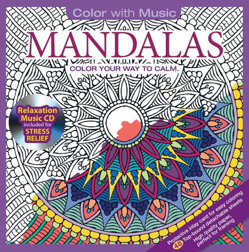 Mandalas Adult Coloring Book With Bonus Relaxation Music CD
