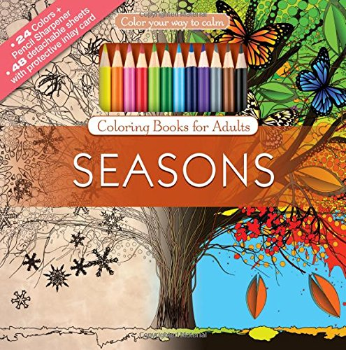 Seasons Adult Coloring Book Set With 24 Colored Pencils And Pencil Sharpener