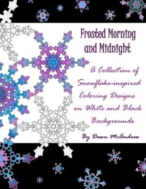 Frosted Morning and Midnight is an adult coloring book of beautiful geometric snowflake designs, each printed once on white paper and once on a rich black background.