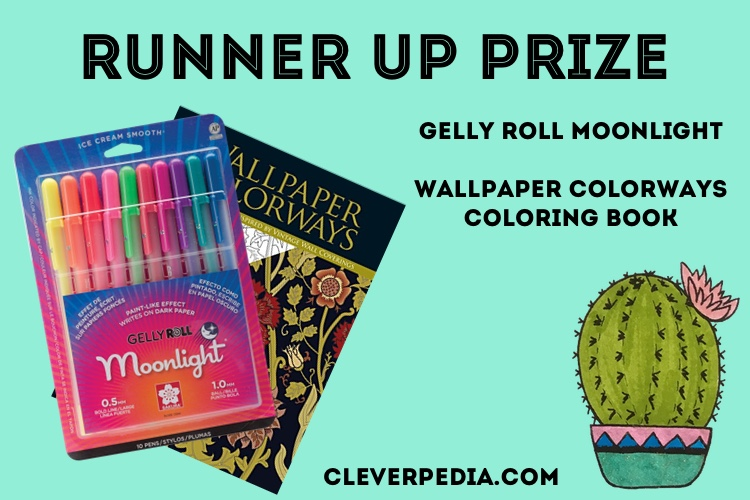 The runner up prize in the Cleverpedia + Sakura of America Giveaway: Gelly Roll Moonlight and Wallpaper Colorways Coloring Book