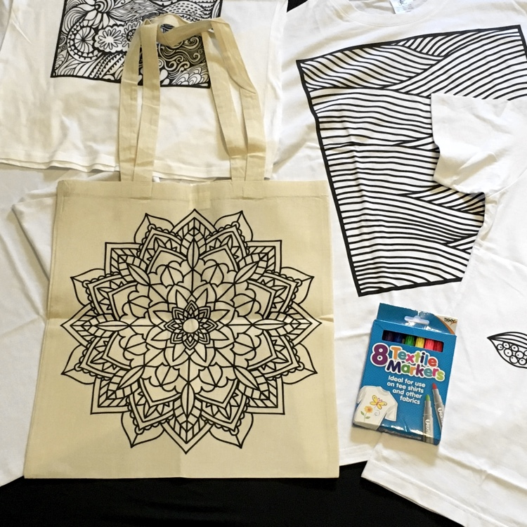 Doodlr Coloring Tote Bag in Mandala. Perfect for carrying your favorite adult coloring books! These colorable clothes, aprons, tote bags, and pillow covers by ShirtBox also make awesome gifts!
