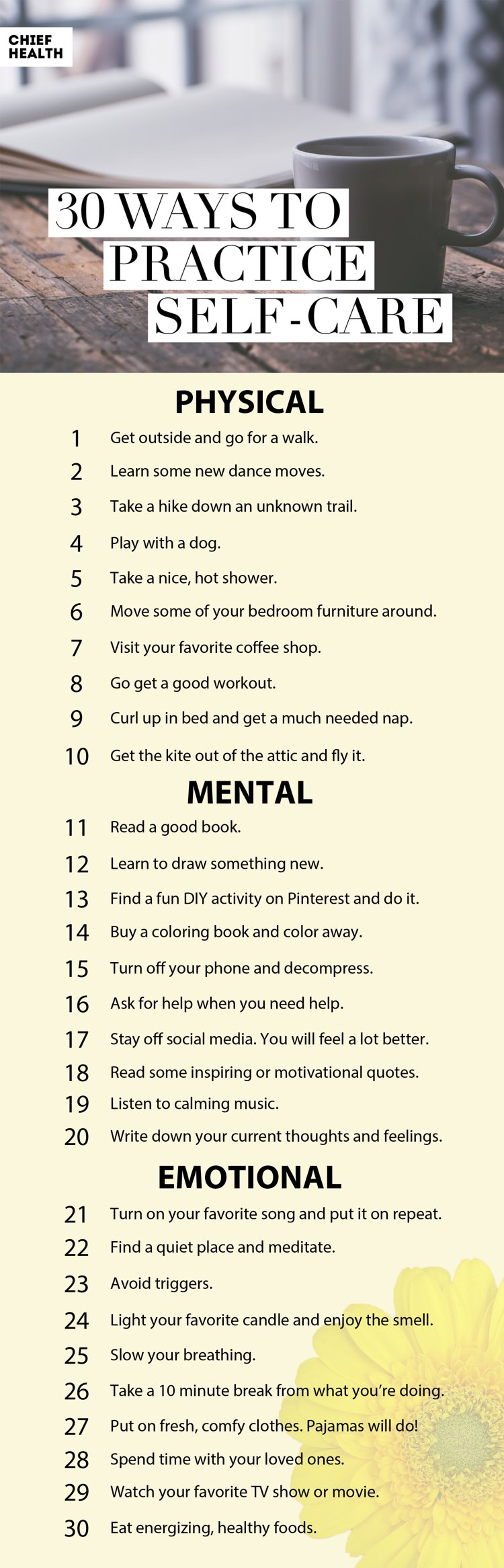 30 Ways to Practice Self-Care: Self-care is important, and too many of us neglect our own needs while we attend to others' needs. This list is a reminder of types of physical, mental, and emotional self-care everyone should be doing to live a better life and feel happier.