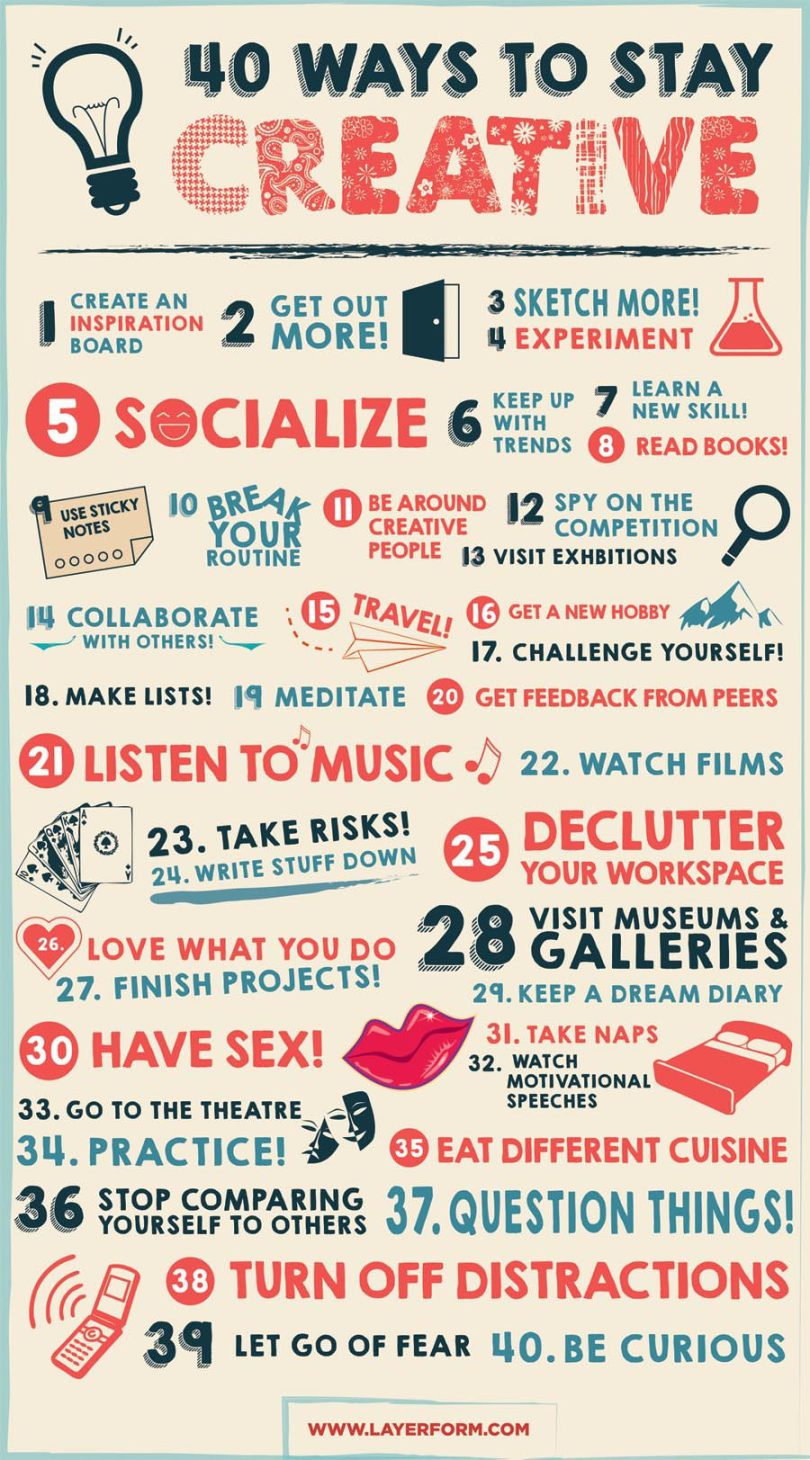 40 Ways to Stay Creative :: Creativity Infographic :: Whether you are breaking through creative block or writers block, or you just want to express yourself more creatively, this infographic is chock full of new ideas for you!