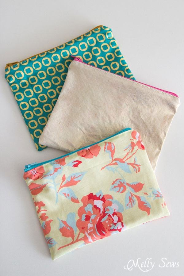 These zipper pouches are quick and easy to make and don't even use that much fabric!