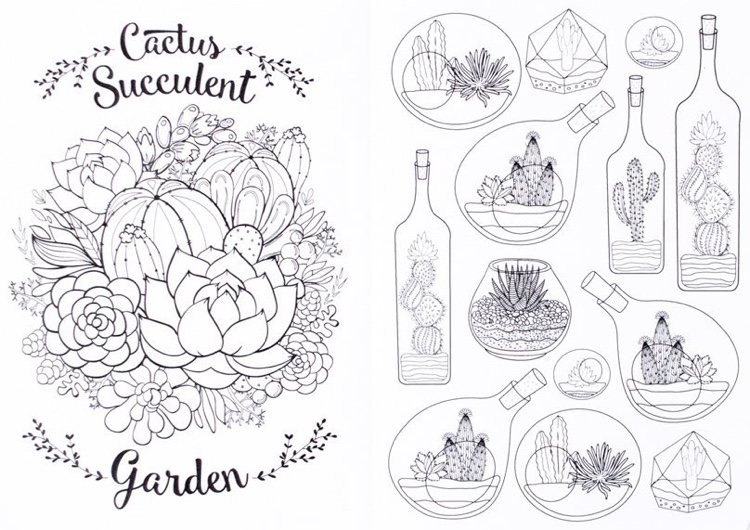 Cactus & Succulents Travel Size Coloring Book