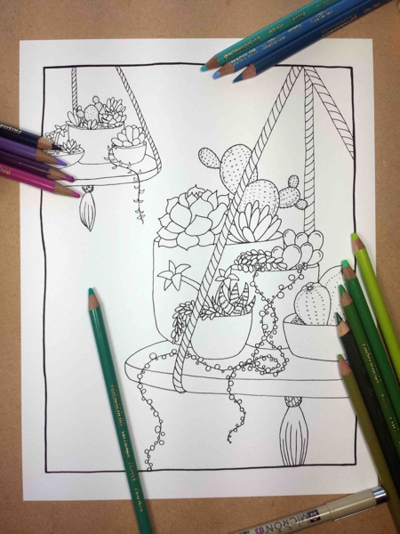 Succulent Hanging Planter Adult Coloring Page by FairytaleFoxDesigns (Print & Color)