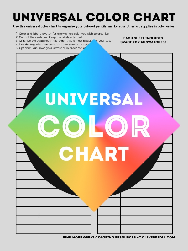 Cleverpedias Free Universal Color Chart Can Be Used To Put Colored Pencils Gel Pens