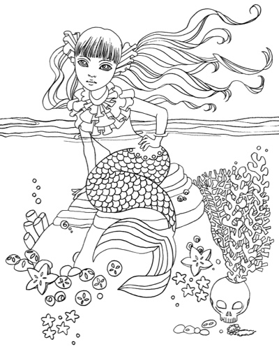 Mermaid in Dress: Coloring Book by Ikuko