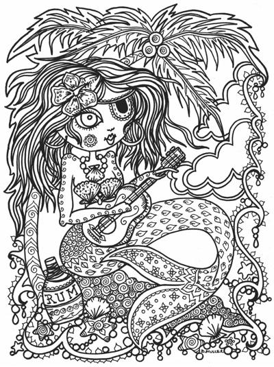 Mermaid Wonders: A Mindful Coloring Book for Adults by Deborah Muller (Chubby Mermaid)