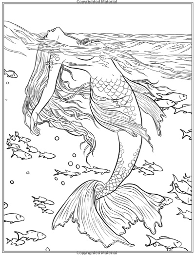 Best mermaid coloring pages coloring books cleverpedia for Mythical coloring pages for adults