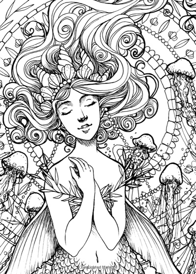 Portrait Of The Mermaid Travel Sized Coloring Book