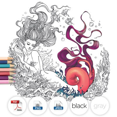 Fantasy Mermaid Coloring Page by LineArtsy (Print & Color)