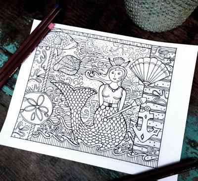 Mermaid Doodle Adult Coloring Page by LisaKausArtStudios (Print & Color)