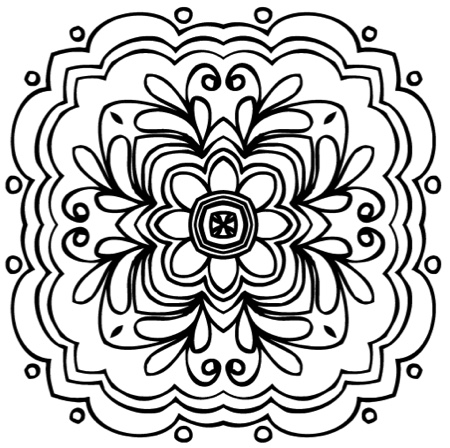 Simple Kaleidoscopes Easy To Color Designs