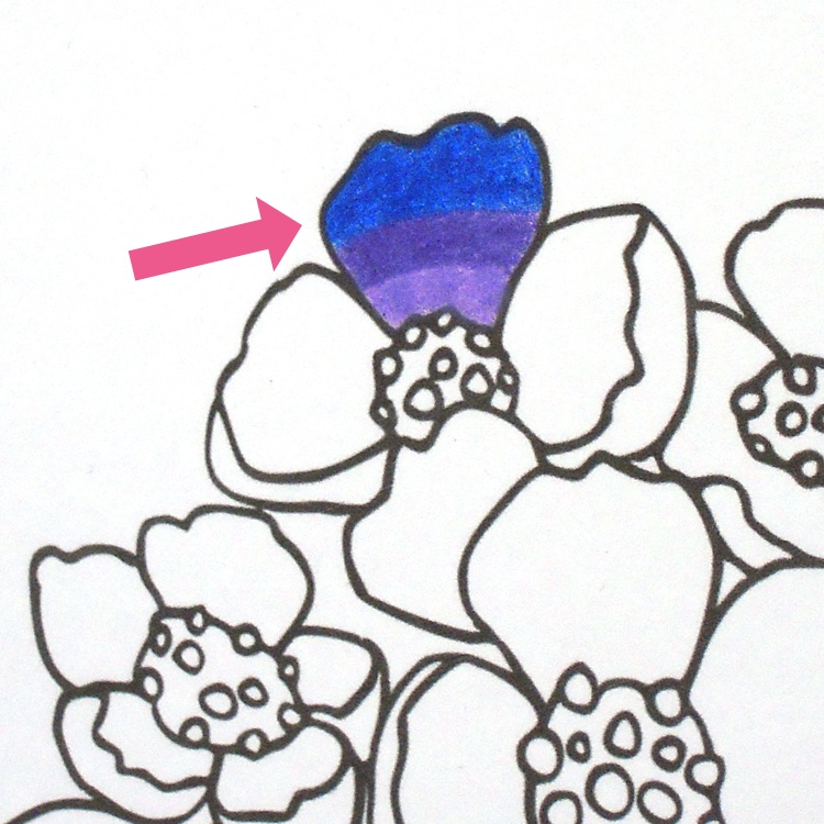 Colored pencil blending techniques: What three colors look like before blending