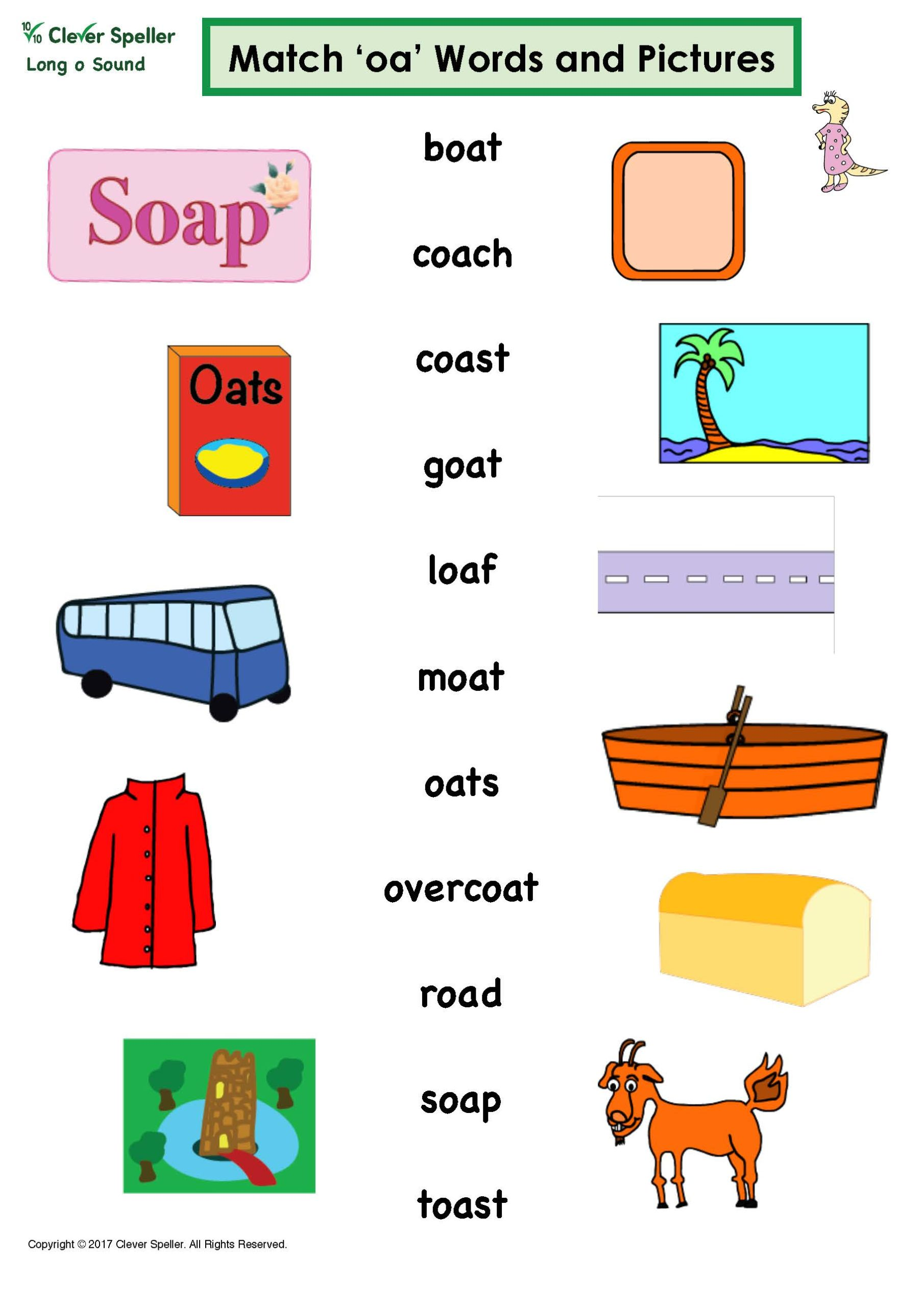 Matching Words And Pictures Long O Sound