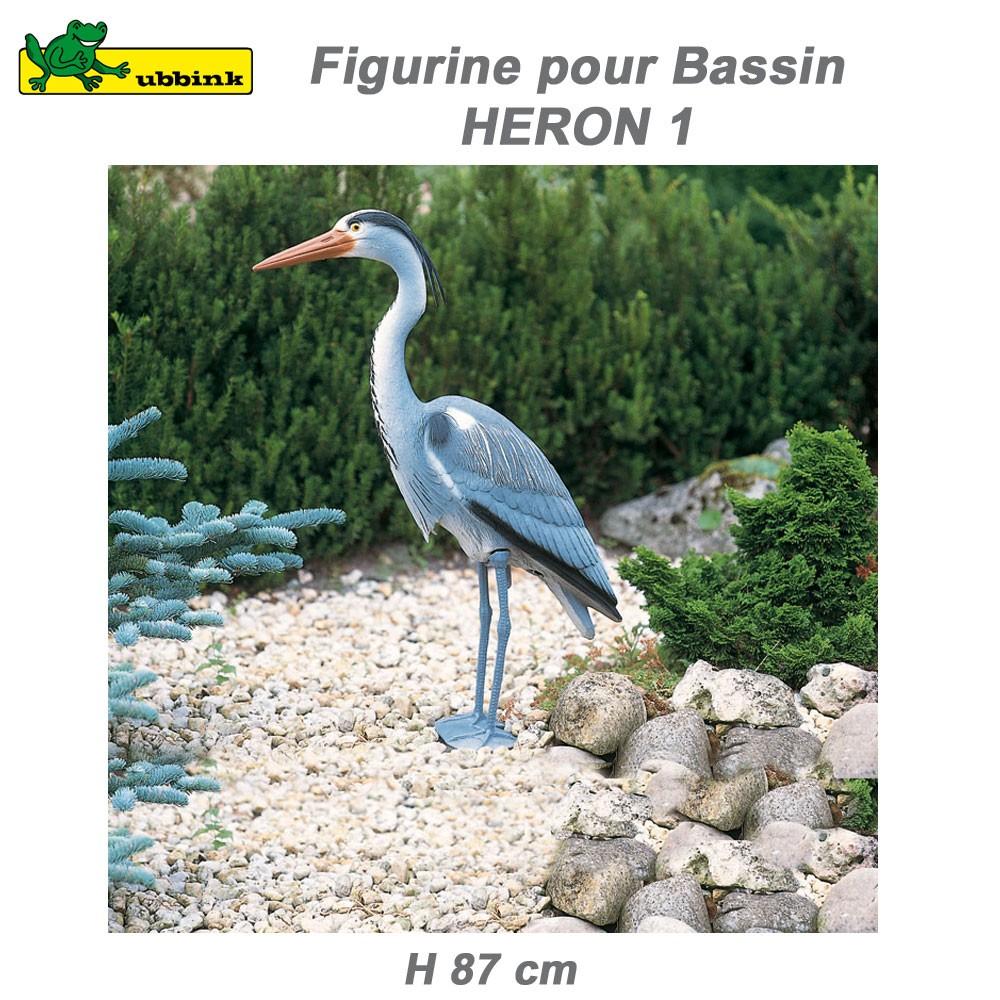 decoration de bassin aquatique heron cendre