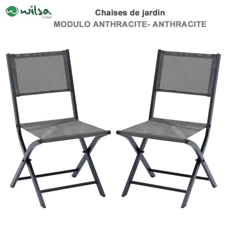 chaises de jardin pliantes modulo grise lot de 2