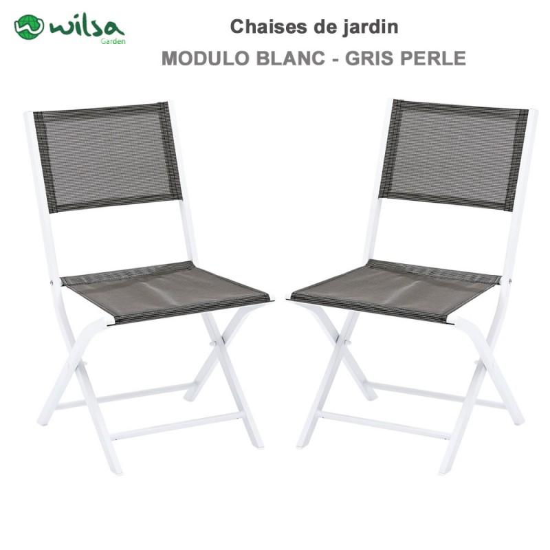 chaises de jardin pliantes modulo blanc gris perle lot de 2