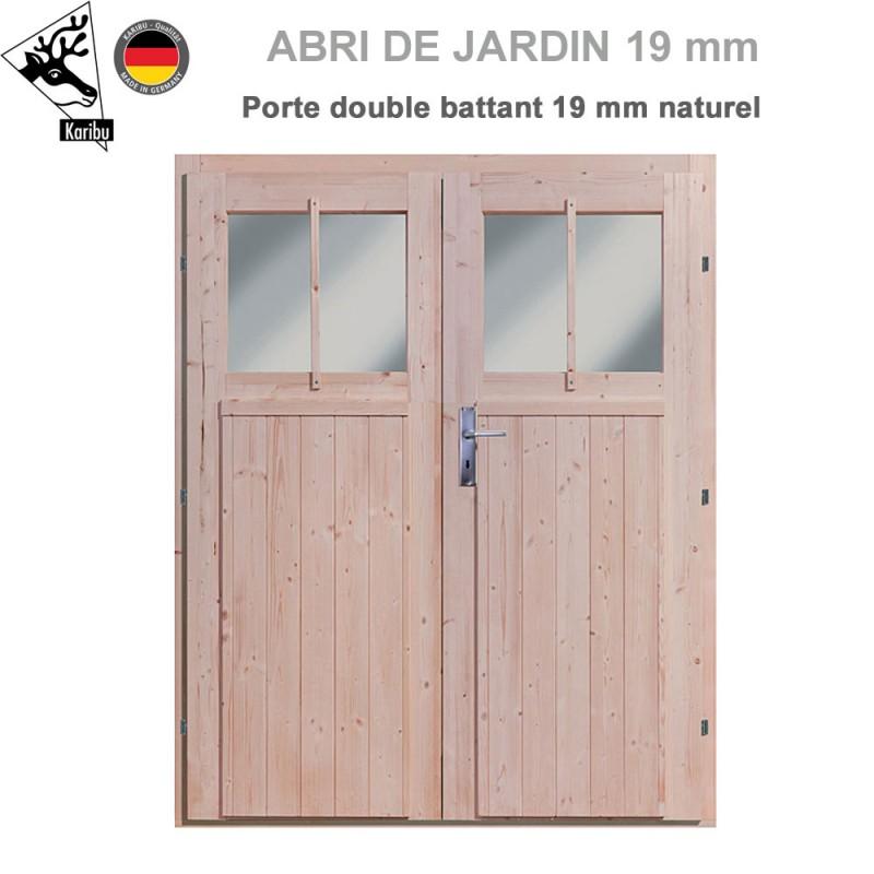 porte double 19 mm pour abri de jardin bois